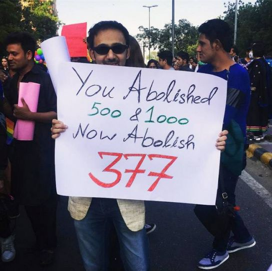 Participants came to the parade with placards demanding that Section 377 be abolished, so that people can live free of fear.
