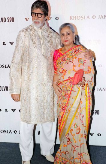 The Bachchans look dashing in traditional wear. Jaya Bachchan is in a sari from Khosla and Jani's collection.