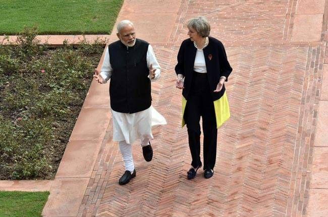 PM Narendra Modi with British counterpart Theresa May