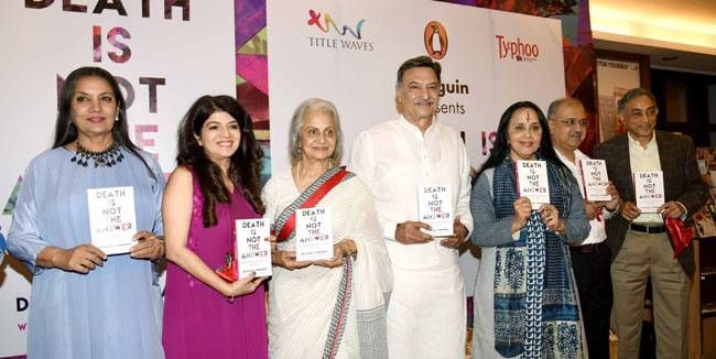 Shabana Azmi, Dr. Anjali Chhabria, Waheeda Rehman, Suresh Oberoi, Ila Arun, and others launch Death is Not the Answer at Title Waves in Bandra West, Mumbai. Dr. Chhabria is a practicing consultant and psychiatrist for the past 20 years. She's also the fou