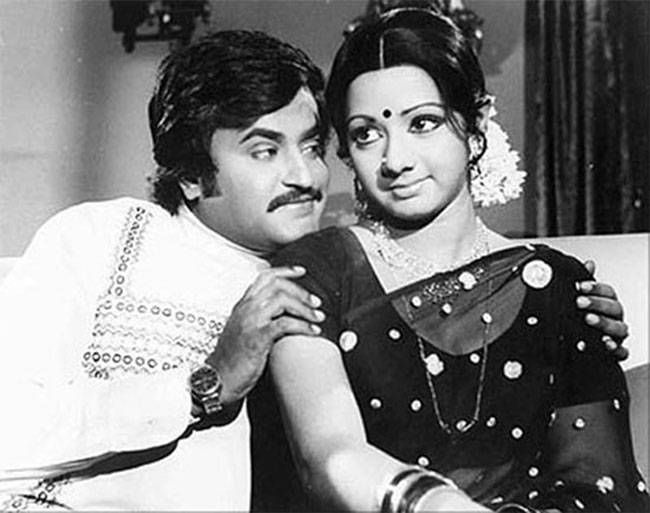 Rajinikanth and Sri Devi in Moondru Mudichu