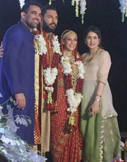 Zaheer Khan and Sagarika Ghatge with Yuvraj Singh and Hazel Keech
