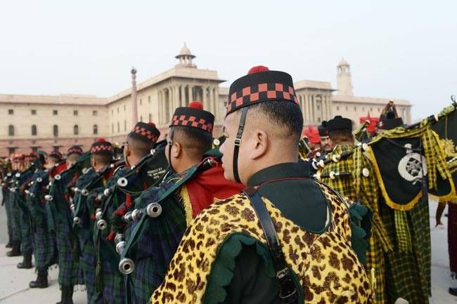 Rehearsals for Beating the Retreat ceremony to held on January 29 to mark the culmination of the four-day-long Republic Day celebrations.