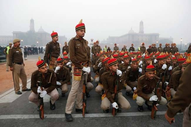 Delhi policemen at Republic Day 2017 practise.