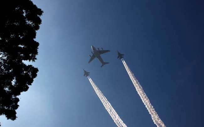 Indian Navy aircraft flies past during Republic Day 2017 parade practise.