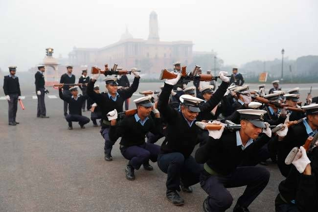 Indian Coast Guard personnel practising drills for R-Day 2017 parade.