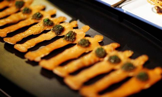 Oscar statuette shaped salmon and caviar appetizers are pictured during a preview of the food and decor for the 89th Academy Awards' Governors Ball at the Ray Dolby ballroom in Los Angeles, California.