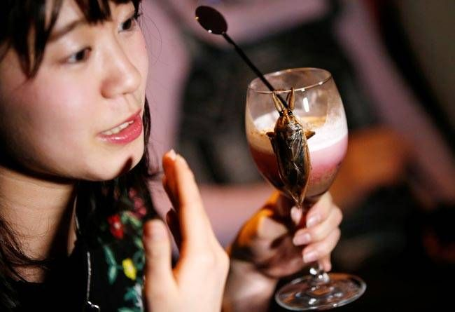 This woman seems to be enjoying a heady cocktail made of the juice of water bugs and whipped cream.These strange concoctions can be quite the nightmare to look at, especially before Valentine's Day.