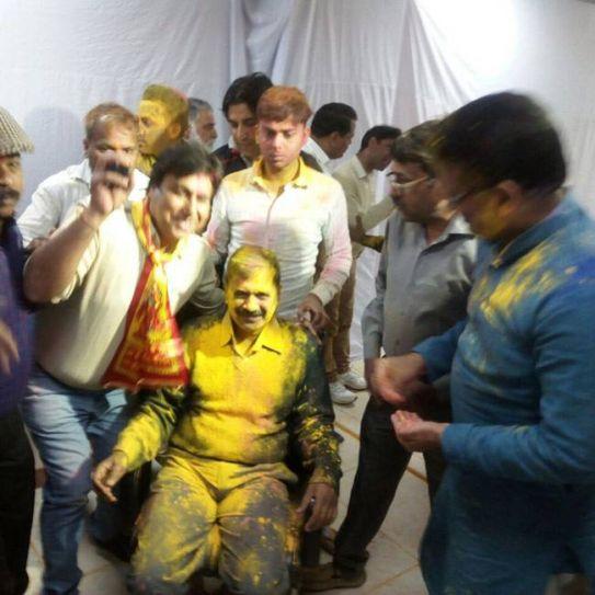Delhi Chief Minister Arvind Kejriwal celebrates Holi