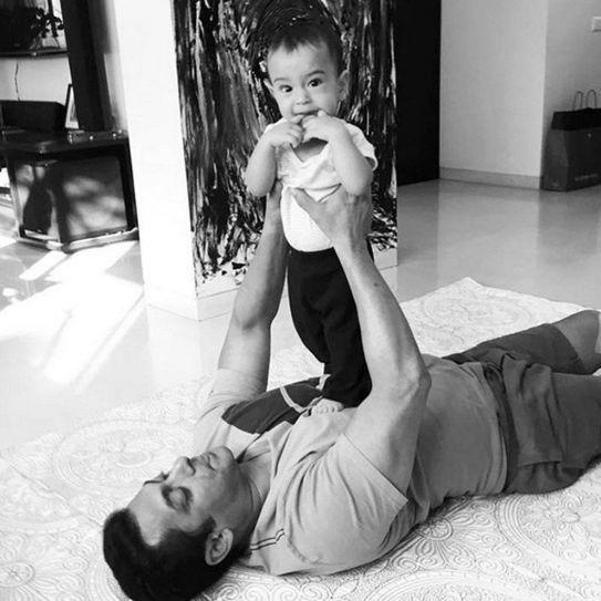 Salman Khan with his nephew Ahil