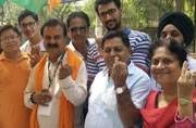 BJP candidate Narendra Chawla who is contesting the polls against AAP's Sanjay Puri, came to cast his vote at his ward Janakpuri West.