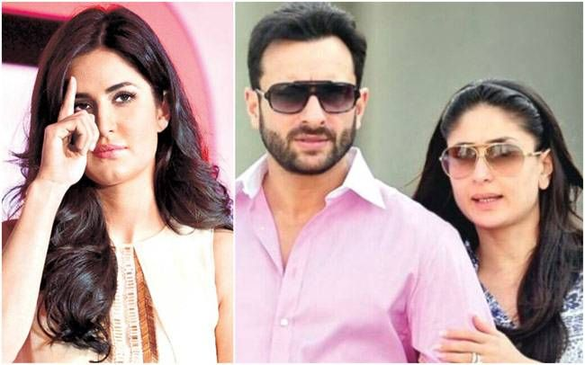 Katrina Kaif (L) and Saif Ali Khan with Kareena Kapoor Khan