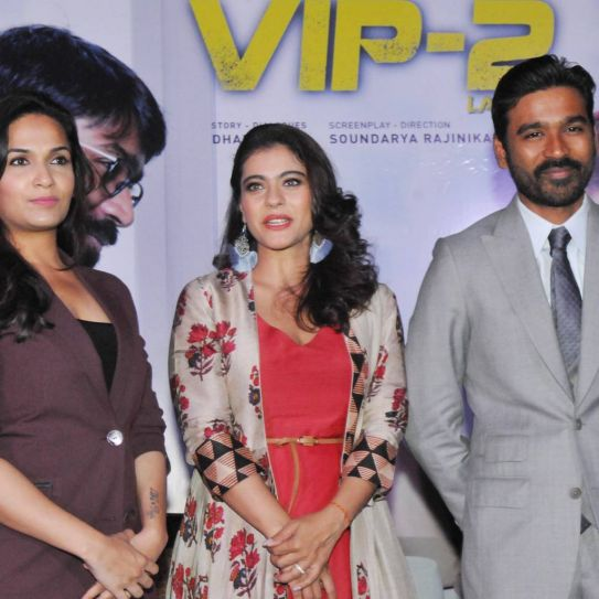 Kajol, Dhanush and Soundarya Rajinikanth