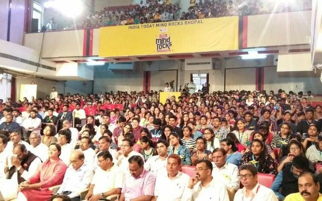 It's a jam-packed auditorium for India Today Mind Rocks in Bhopal today.