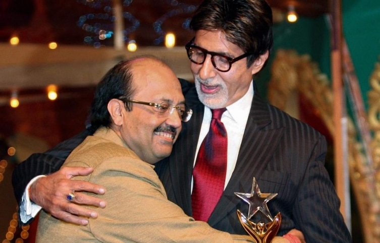 SP leader Amar Singh and actor Amitabh Bachchan photographed at Max Stardust Awards