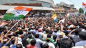 Congress party workers celebrate victory