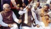 LK Advani addressing karsevaks in the lead up to the Babri demolition.