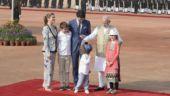 PM Narendra Modi with Canadian PM Justin Trudeau and his family at Rashtrapati Bhavan in New Delhi. (India Today/Vikram Sharma)