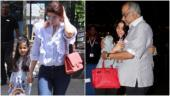 Twinkle Khanna with daughter Nitara (L) and Boney Kapoor with daughter Janhvi Kapoor