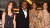 Alia Bhatt, and Mukesh, Isha and Nita Ambani at Priyanka Chopra and Nick Jonas's engagement party