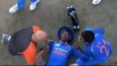 Hardik Pandya had to be carried off on a stretcher after going down on his follow through