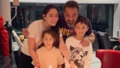 Sanjay and Maanayata Dutt with kids Iqra and Shahraan