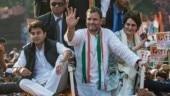 Rahul Gandhi, Priyanka Gandhi Vadra and Jyotiraditya Scindia at Lucknow roadshow
