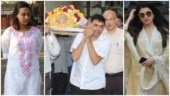 Bollywood filmmaker Sooraj Barjatya's father Raj Kumar Barjatya died on February 21 and Bollywood stars paid their last respects at his funeral