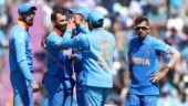 Indian team celebrating after Shami dismisses Hazratullah Zazai. (AP Photo)