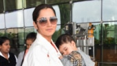 Sania Miraza with baby at airport Photo: Yogen Shah