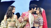 Ananya Pandey, Kartik Aaryan and Bhumi Pednekar walk the ramp for Abu Jani Sandeep Khosla Photo: Yogen Shah