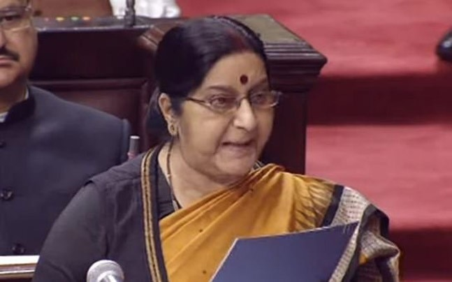 Foreig minister Sushma Swaraj told the Parliament about Kulbhushan Jadhav's meet with his famliy (Photo- ANI)