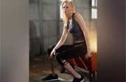 This model lost a leg after using a tampon, and now might lose the other one too
