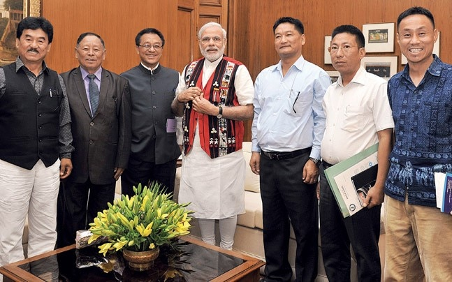 File picture of a Naga Hoho delegation meeting PM Modi
