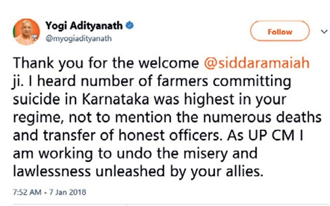 Twitter war between Yogi Adityanath and Siddaramaiah