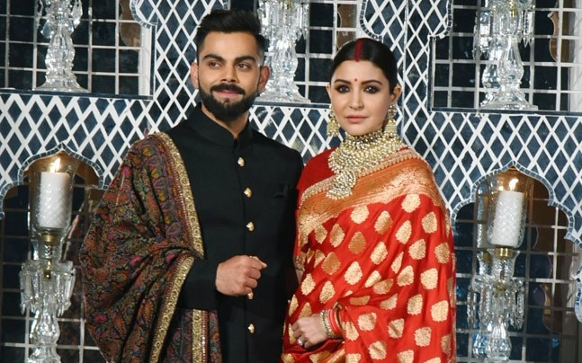 Virat Kohli and Anushka Sharma at their wedding reception in Delhi