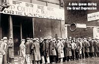 A dole queue during the Great Depression