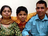 Hitesh Desai with wife and son