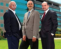 (From L-R) Saurabh Srivastava, Will Bauman and Amit Chatterjee in front of the India Technology Center (ITC) in Hyderabad