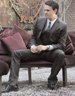 Andy is wearing a tie, shirt and suit by D&G at the collective; Shoes by Todis; Watch by Tag Heuer.