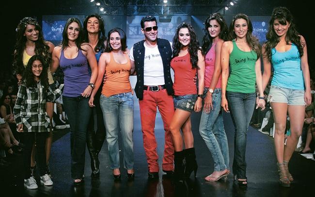 Salman Khan with Bollywood stars at a Being Human fashion show in Mumbai