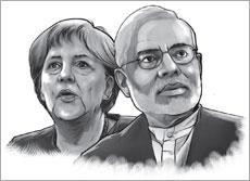 German Chancellor Angela Merkel (L) and Prime Minister Narendra Modi