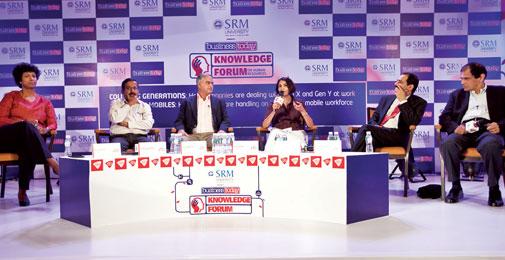 Workforce challenges: (From left) DDI India's Anu Zachariah; ITC's Sibsankar Bandyopadhyay; Gopalji Mehrotra of Ashok Leyland; BT's Shamni Pande; T. Karunakar of Apollo Hospitals, Hyderabad; and Kumar S. Krishnaswamy of Medwell Ventures