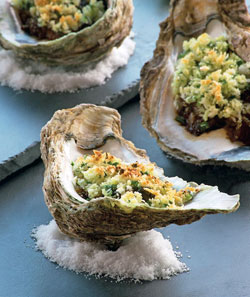 Dig into some delectable broiled oysters and chorizo in ponzu sauce