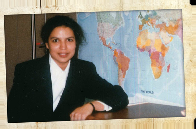 Her cubicle at one of her previous employers Wendy's International in 1996.
