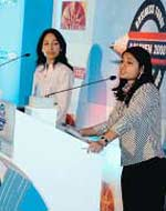 Women to the fore: Runners-up Harsimran Kaur (L) and Renu Kansal of ICFAI during the debate finals