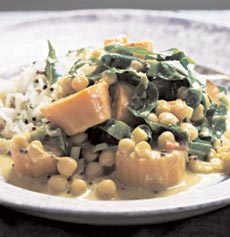 Yogurt, curry leaves and coconut oil are the main flavouring agents in Anjum's Southern Curry