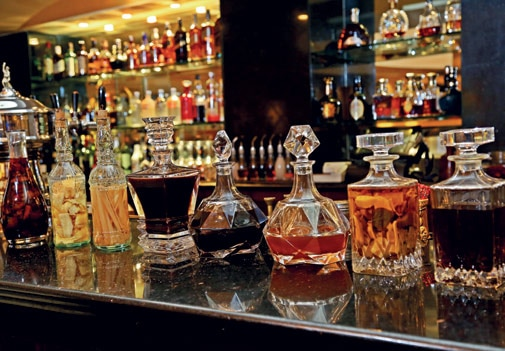 A collection of infused vodka and bitters at Ricks, The Taj Mahal Hotel, New Delhi