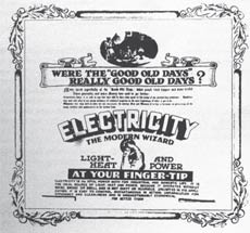 A 1940 advertisement, extolling 'Electricity, the modern wizard'
