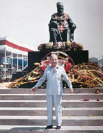 J.R.D. in front of J.N. Tata's statue in Jamshedpur
